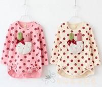 2014 Baby girls polk dot long sleeve rubbit model tops summer outwear