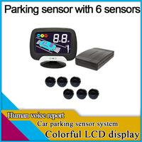 freeshipping car parking sensor with 6 sensors,english human voice report,LCD display parking,