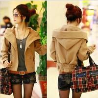 2014 spring outerwear female women's short design wool woolen cardigan top short jacket female coat