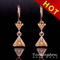 2014  Mixed Order Free shipping 18K Rose Gold Filled punk shine Cubic zirconia Lady long Earrings earpins Dangler Jewelry CZ0424