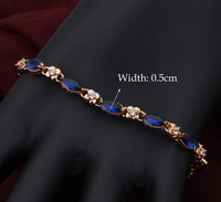 Top quality 18K  Gold Plated blue topaz design Bracelets for women Health Nickel & Lead free fashion jewelry TB187