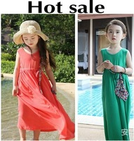 New 2014 Summer Fashion Bohemian Style,Cotton,Girl Dress Sleeveless,Child Beach Long Dresses,Kids Clothes Clothing Red Green 392