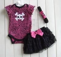 2014 Baby Girls Dot/Leopard short sleeve casual Romper Kids Bow Jumpsuit+skirt+headkerchief  clothes
