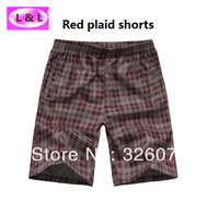2014 hot fashion plaid shorts knee-length casual beach  short trousers red blue green black XL to 5XL free shipping