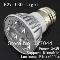 9W E27 110V-240V Cold White/Warm White light  3X3w 9w LED lamp high power LED Spotlight Free shipping