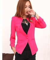 New 2014 Women OL Slim Fit Padded Shoulders Blazers Small Suit Jacket Outerwear , White, Black, Red, Blue, M, L, XL 761
