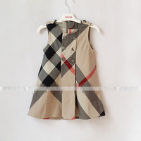 Hotsale 5pcs /lot summer girls plaid dress cotton kids dress beautiful girls clothes