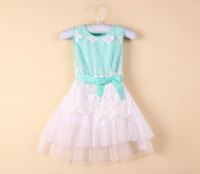 up $199 Mix order EMS/FEDEX to AU/US/UK,2014 new kid Summer girls lace dress cotton princess tutu dress,13DEC282-LQ-3