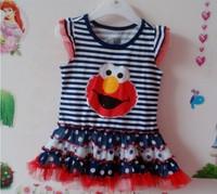 Baby-girls cartoon Sesame sleeveless striped plok dot petti summer tutu dress