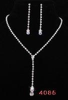 Wholesale 2pcs Clear Crystal Rhinestone Wedding Bridesmaid Jewelry Tassel Necklace Earring Set