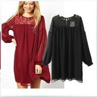S4 New 2014 Spring Women Black Loose Chiffon Vintage Dress Puff Sleeve Ruffles Summer Casual Lace Dresses Vestidos Free Shipping