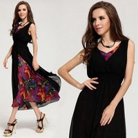 New arrival lady fashion casual chiffon maxi long dress V-neck 2 layers floral big hem women summer sleeveless dress Size:S M L