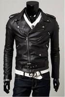 Men's Leather Jacket Outerwear Korean Slim draping diagonal zipper jacket motorcycle jacket Free Shipping