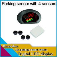 freeshipping car parking sensor with 4 sensors,digital LED display,buzzer alarm,different colors for sensor option