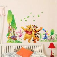 Winnie The Pooh Wall Decals Kids Bedroom & Baby Nursery Children Wall Stickers Art Room Decor