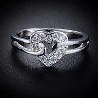 Romantic Charming Loving Heart Shaped Wedding Rings For Lovers Free Shipping 12pcs/lot