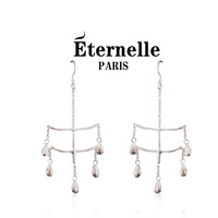 Elegant eternelle 925 silver long design earrings pure silver tassel earrings drop earring accessories