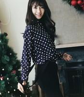 2013 spring female loose plus size clothing black and white circle polka dot basic shirt chiffon shirt long-sleeve