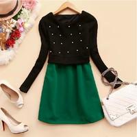 Vestidos Free Shipping Sale New Empire Party Dresses 2014 Fashion Women's O-neckfaux Two Piece Basic One-piece Dress Plus Velvet