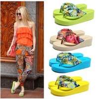 2014 new fashion bohemia platform wedges sandals flip flops female platform summer slippers national stylish beach flip flop