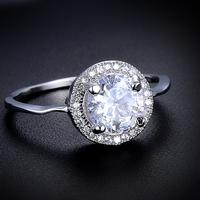 Fashion Luxury Big Gem White Stone Round Shaped Platinum Plated Wedding Rings Charms Free Shipping 12pcs/lot