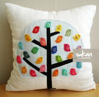 #745  Creative cute canvas handmade applique bird home bedding sofa cushion cover pillow case free shipping  wholesale