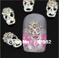 10pcs/set Silver 3D Skull Nail Art Tips AB Colorful Rhinestone Nail Art Tips Decoration E3181