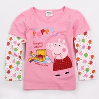 FREE SHIPPING  18m/6y NOVA kids wear 2014 girl's fashion connecting sleeves with peppa pig baby girls long sleeve T-shirts