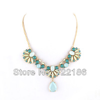 Latest Fashion Jewelry Flower Design Bohemian Style Colorful Rhinestone Pendant Collar Necklace