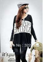 free shipping 2014 spring and autumn female plus size sweater letter printed batwing sleeve long loose tops size 4xl