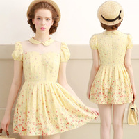 Cici-shop2014 women's peter pan collar puff sleeve high waist slim chiffon one-piece dress 2871