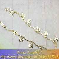 ISZ00518 18K gold plated Filled leaves pendants Bracelet 2PCS/LOT