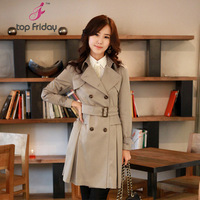 Topfriday 2012 autumn and winter slim trench design long outerwear plus size mm women's