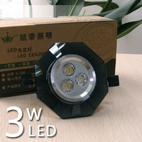 Black Spot Down Ceiling light 3*1W LED Warm White Fixture lamp Bulb 3W  [LD229]