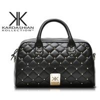 2014 new kardashian kollection handbags tote shoulder bag fashion black kk quilted rivet package - free shipping