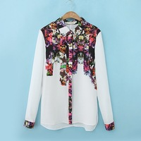 2014 Early Spring New Arrival Fashion 2 Colors Ladies' Positioned Flower Print Long-sleeved Shirt OL Elegant Stylish Top