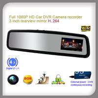 Professional H.264 Novatek Full HD DVR 1080P Resolution Camera record 3 inch car rear view mirror