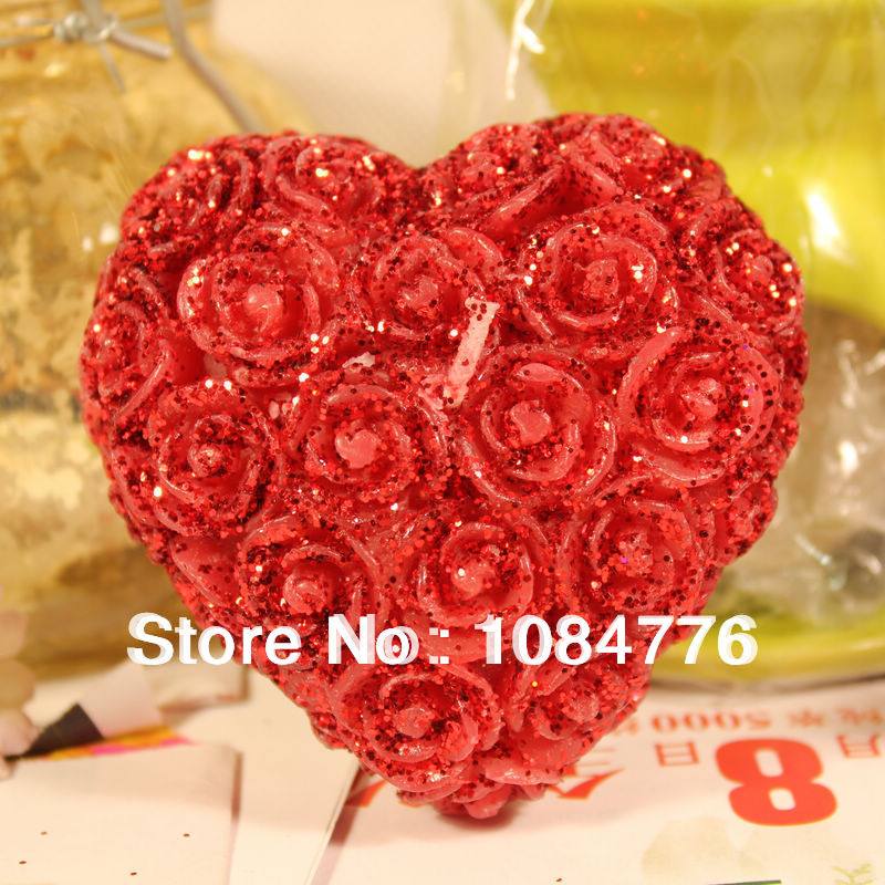 H123 Free Shipping 12PCS/LOT Heart Rose Candles Birthday Wedding Candles Party Valentine's Day Propose Candles wholesale(China (Mainland))