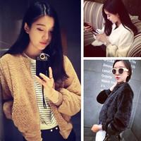 Blazer Feminino Feminino Limited Hot Sale Women Jacket Cardigans Freeshipping 2014 Spring Plush Velvet Thermal Baseball 34d