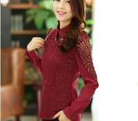 Lace, gauze shirt, women long sleeve new 2014 spring new Korean doll lady small shirt collar shirt women