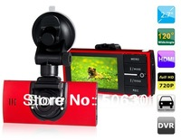 "Free shipping + Car dvr 2014 SC01 2.7"" TFT Screen Allwinner Dual Lens IR Night Vision Vehicle Black Box DVR with HDMI Output"