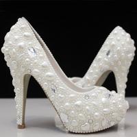 free shipping white / ivory pearl rhinestone crystal wedding shoes pearl bridal princess white ultra high heels platform shoes