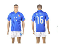 De Rossi Italy 2014 home blue jersey and short world cup soccer uniforms embroidery logo football kit