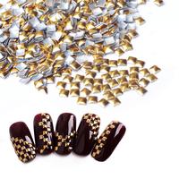 Square Gold DIY 3D Metal Nail Art Decorations, 2000pcs/lot Rhinestone Metallic Nail Accessories,Gold Nail Studs,Manicure Tools