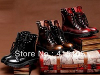 Free Shipping 2014 Autumn/spring platform high heel single shoes vintage Women Motorcycle Boots Martin Boots, leather boots