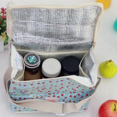 Novo tecido de algodão Thermo impressão térmica Lunch Box Bag duplas Cooler Bag Picnic jantar viagem bolsa Hot Sale BFCF-89(China (Mainland))