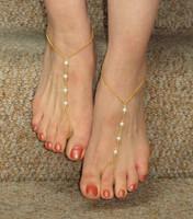 Gold pearl ankle bracelet foot leg bracelet barefoot sandals, Slave bracelet  foot jewelry,  Bridal jewelry