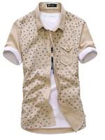 Men's casual short sleeve shirt  fashion print male shirt