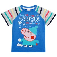 FREE SHIPPING 2014 Nova baby boys clothing peppa pig cotton short sleeve  t-shirts with print and embroidery