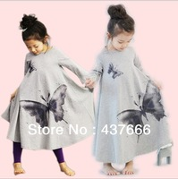 2014 New Fashion Korean Ink Wash Butterfly Washing Printing Long Sleeve Wide Hemline Vintage Girls Bow Dress Kids Dresses